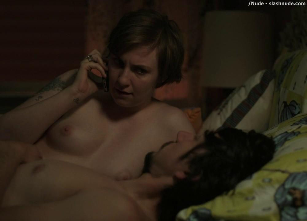 Lena Dunham Topless For Pillow Talk Interruption On Girls 14