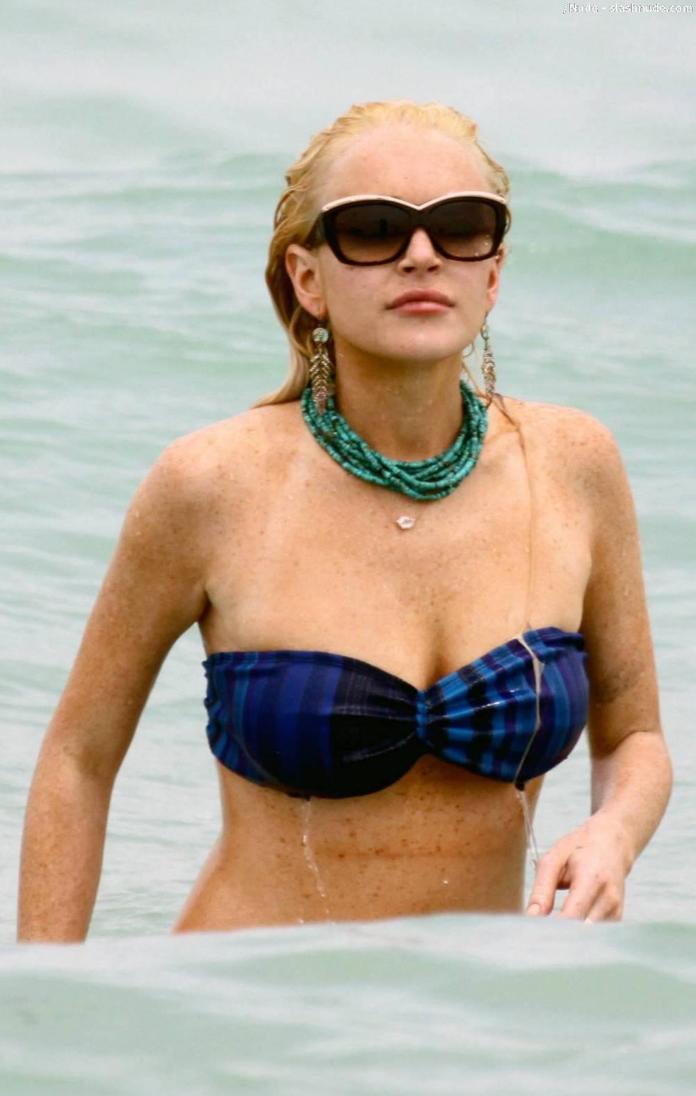 Lindsay Lohan Breasts Slip Of Her Bikini In Miami 2