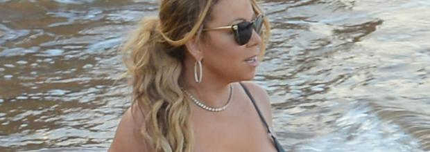 mariah carey nipple slips out of bikini at beach 0885