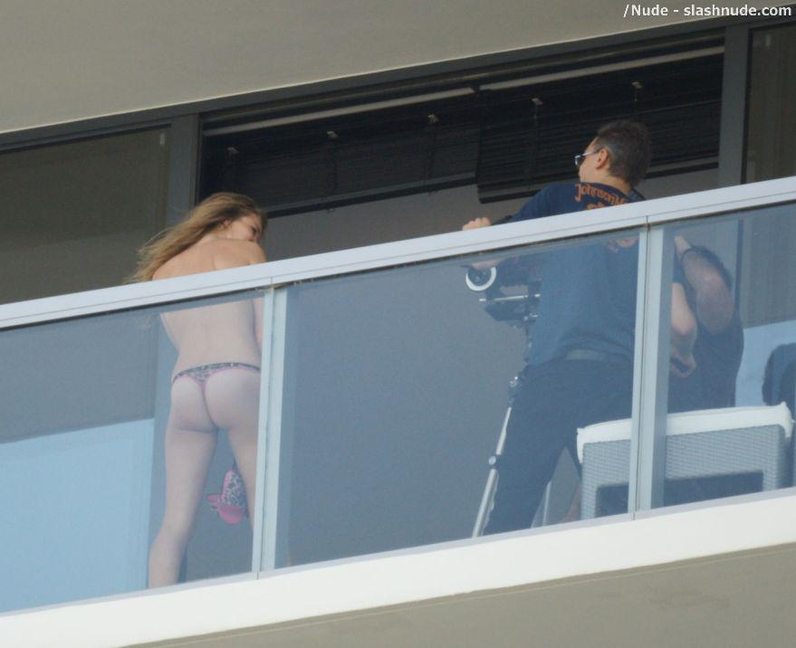 Rosie Huntington Whiteley Topless On The Balcony 6