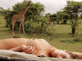 candice boucher nude with giraffes in playboy 2114 4