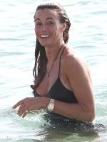 kelly bensimon nipples slip out of top at beach 6553 6