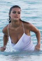 nina agdal breast slips out during beach shoot 1447 3