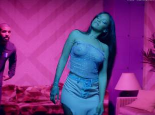 rihanna bare breasts star in work music video with drake 7062 27