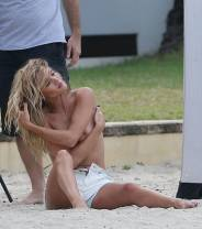 rosie huntington whiteley topless for photo shoot at beach 2105 5