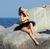 myla dalbesio topless at beach for photoshoot 9069 11