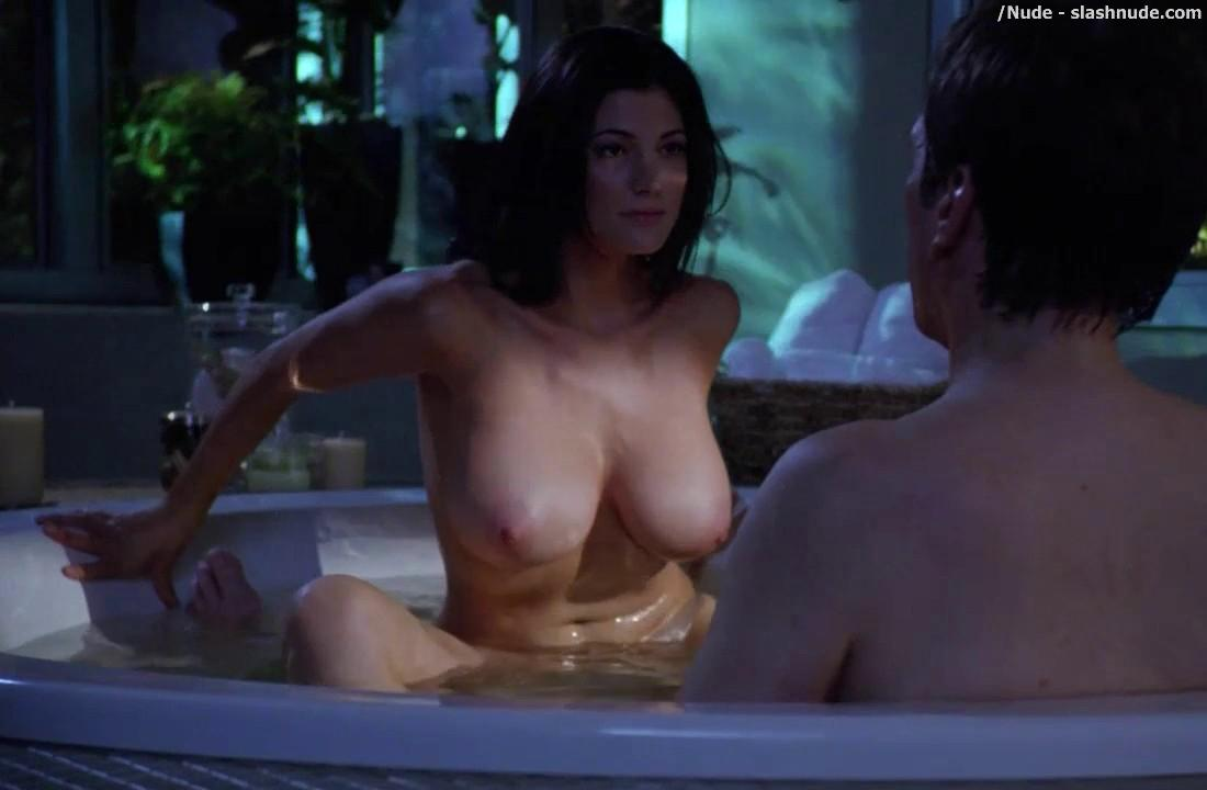 woman in hot tub naked